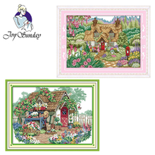 Joy Sunday,Flower cabin,cross stitch embroidery set,printing cloth embroidery kit,needlework,Scenery pattern cross stitch set joy sunday magnolia flower cross stitch embroidery set printing cloth embroidery kit needlework flowers picture cross stitch kit