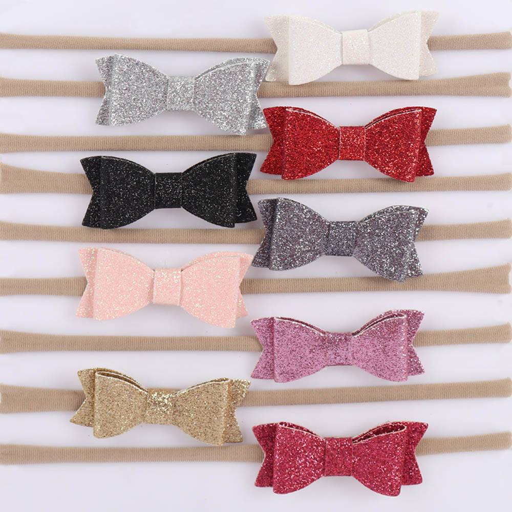 9 Pcs/lot Solid Nylon Headband For Baby Swallowtail Bling Bling Glitter Bows Elastic Hairband For Kids Hair Accessories