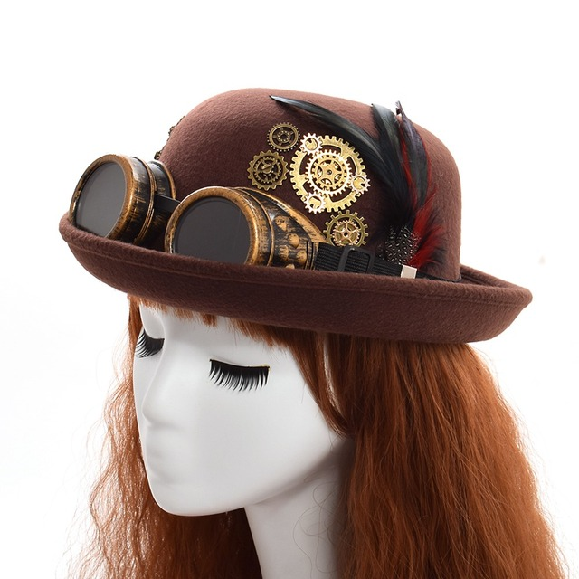 492253ae16a Fedoras Hat Lady Vintage Steampunk Gear Glasses Black Top Hat Unisex  Couple s Brown Party Bowler Headwear