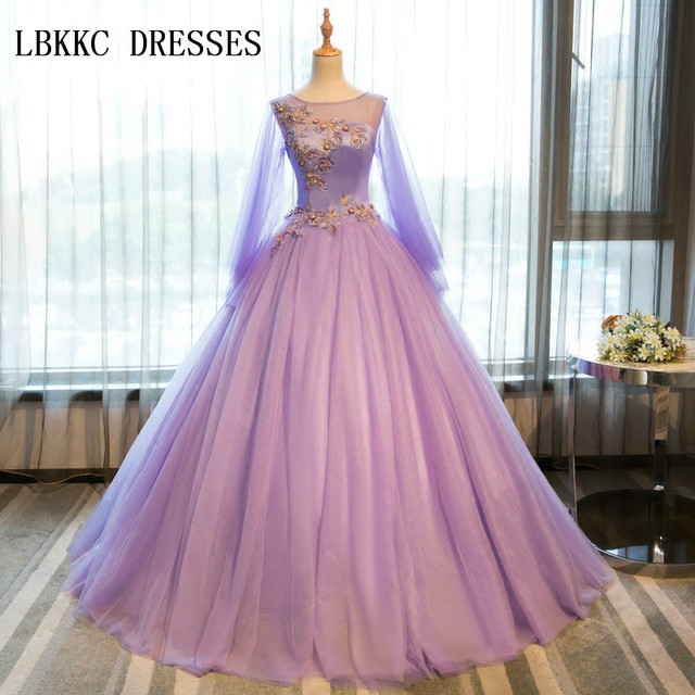 21571b03bad Lilac Quinceanera Dresses With Long Sleeves Puffy Girls Masquerade Sweet 16  Dresses Ball Gowns Vestidos De 15 Anos