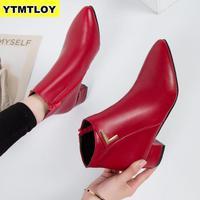 Женские повседневные кожаные ботинки на низком каблуке, с острым носком, на резиновой подошве, черные, красные, Zapatos Mujer, весна 2019