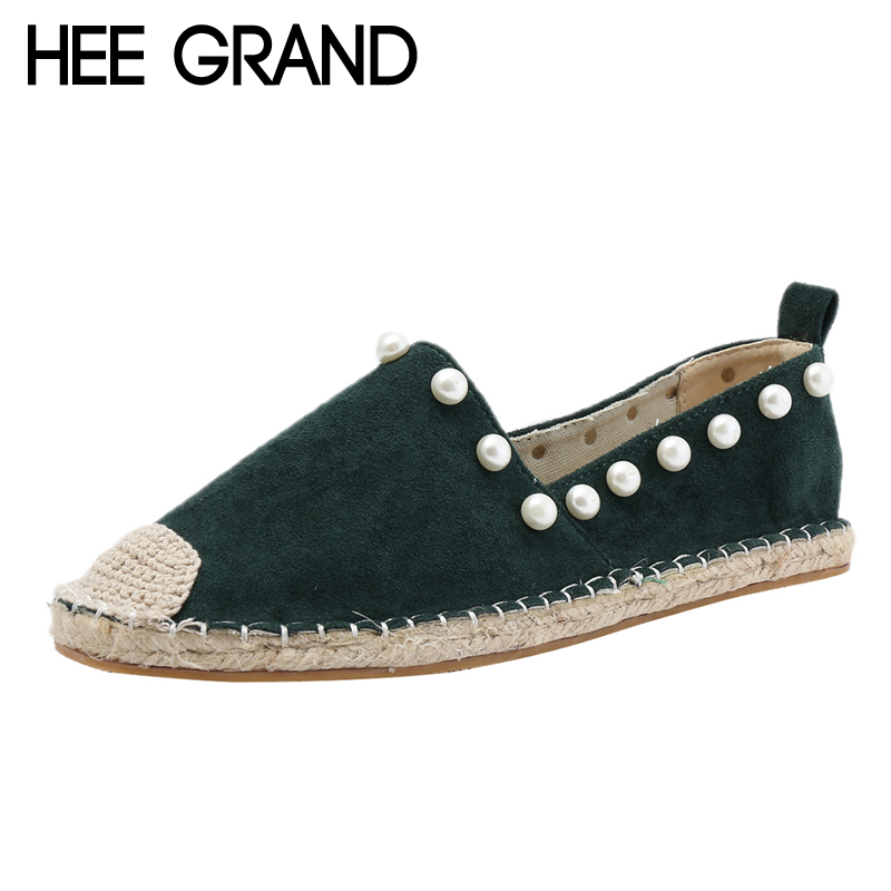 HEE GRAND Faux Suede Casual Flat Shoes Woman Spring Solid Loafers Slip On Sting Bead Flats Round Toe Fisher Women Shoes XWD6144 xiaying smile woman flats women brogue shoes loafers spring summer casual slip on round toe rubber new black white women shoes