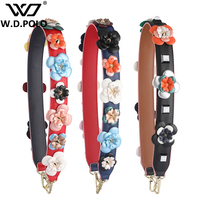 WDPOLO New Flower Female Handbags Belts Leather Design Bags Belts Chic New Trendy Bags Accessories Shoulder