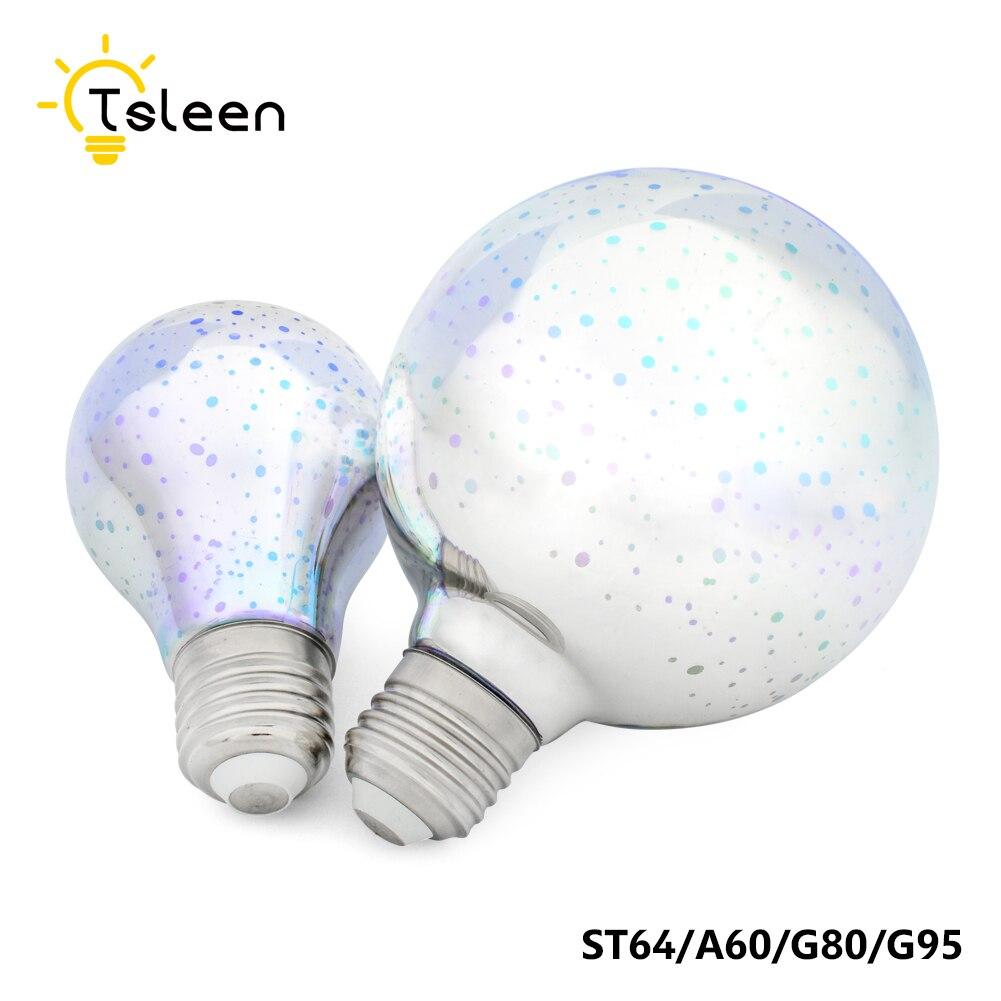 4PCS Vintage Led Edison Bulb 3D Fireworks Lamp E27 G80/G95/ST64 Fairy Lighting 110V 220V Holiday Lights Effect LED Lamp