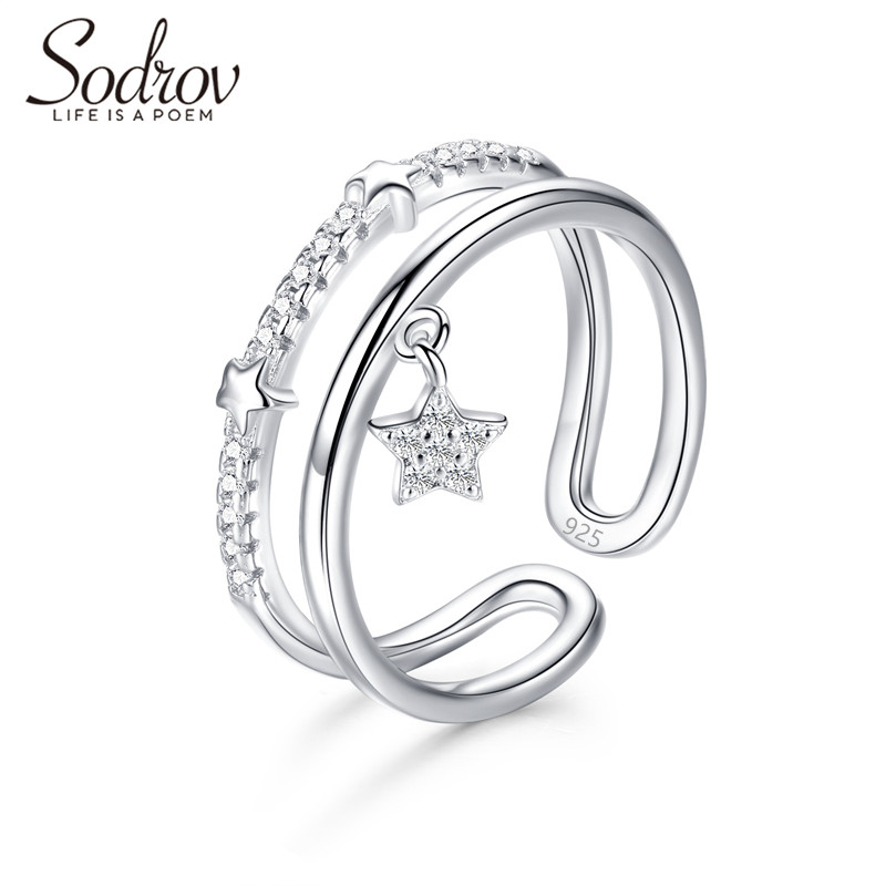SODROV Star Ring  925 Sterling Silver Open Engagement Jewelry for women HR047 PersonalizedSODROV Star Ring  925 Sterling Silver Open Engagement Jewelry for women HR047 Personalized