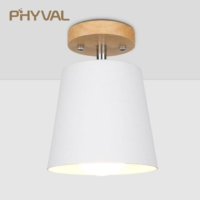 LED תקרת אור ברזל עץ תקרת מנורות נורדי מודרני תקרת סלון חדר שינה קישוט קבועה מסדרון מטבח