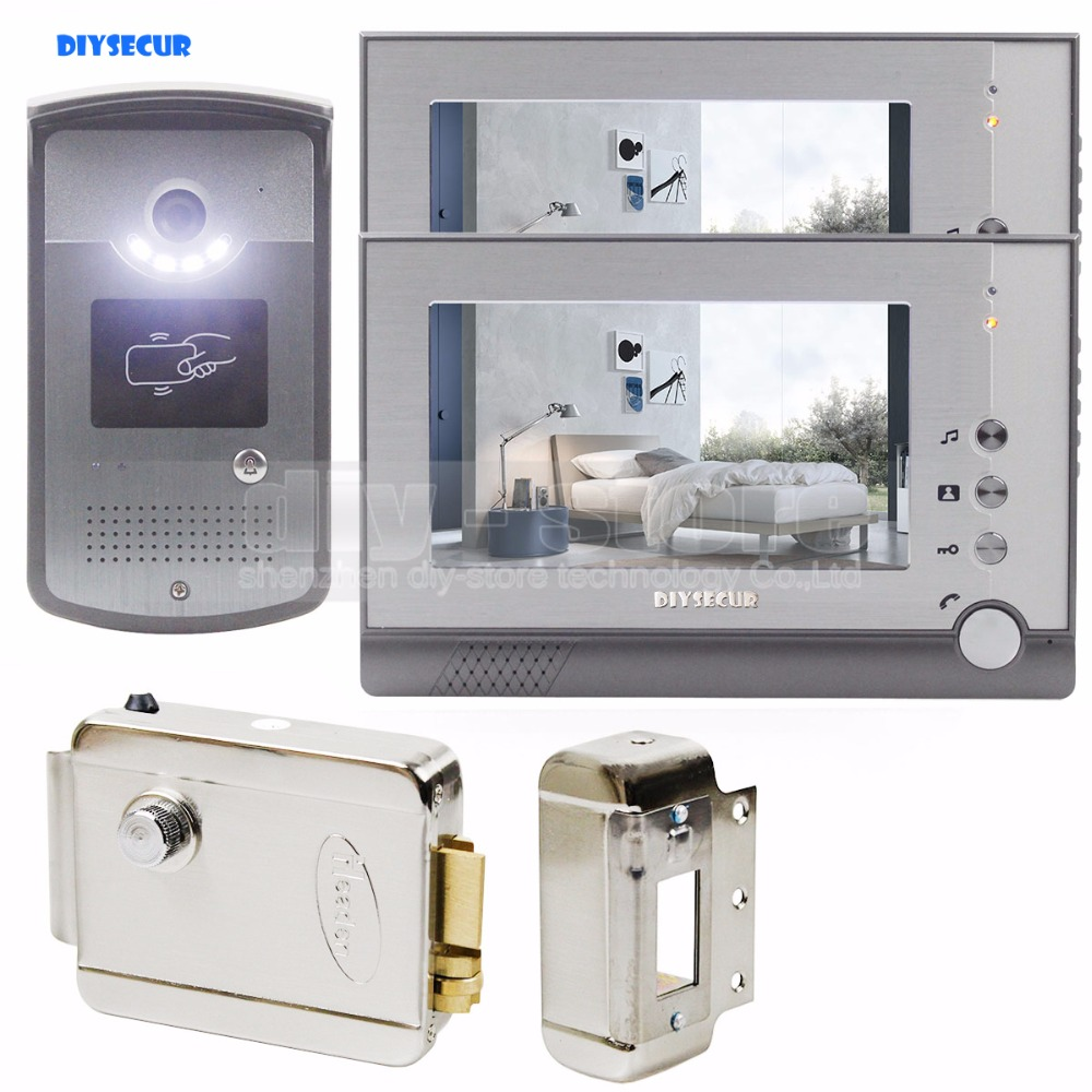 DIYSECUR Electric Lock 7 inch LCD Display Video Door Phone Visual Intercom Doorbell RFID Night Vision 1 Camera 2 Monitor