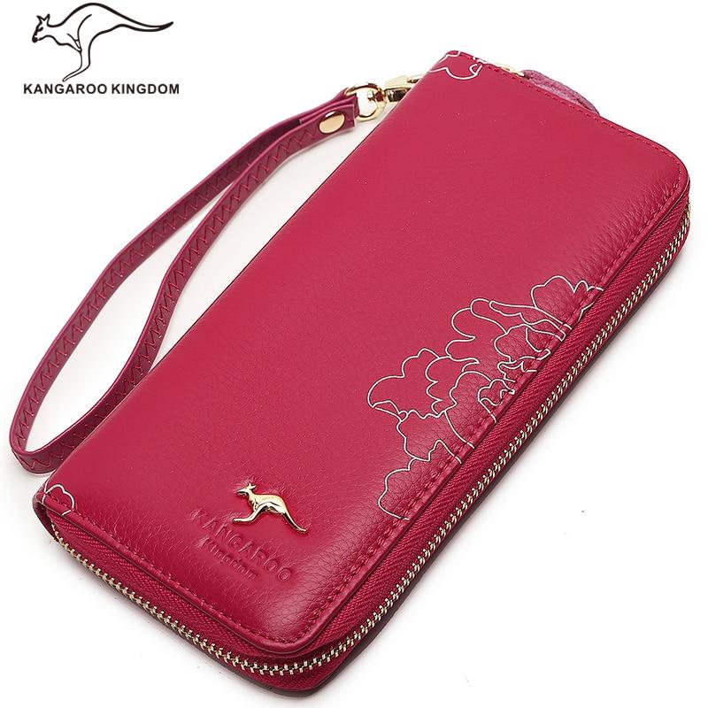 ФОТО Kangaroo Kingdom Women Wallets Genuine Leather Wallet Pusre Brand Ladies Clutch Wallet