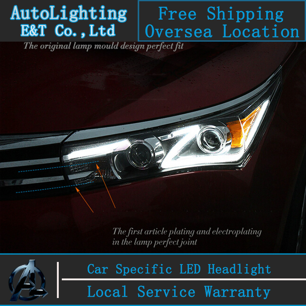 Car styling LED Head Lamp for Toyota Corolla led headlight assembly 2014-2015 new Altis led drl H7 with hid kit 2 pcs. new distributor assembly 19020 15180 for toyota corona 8a 5afe 1 6l