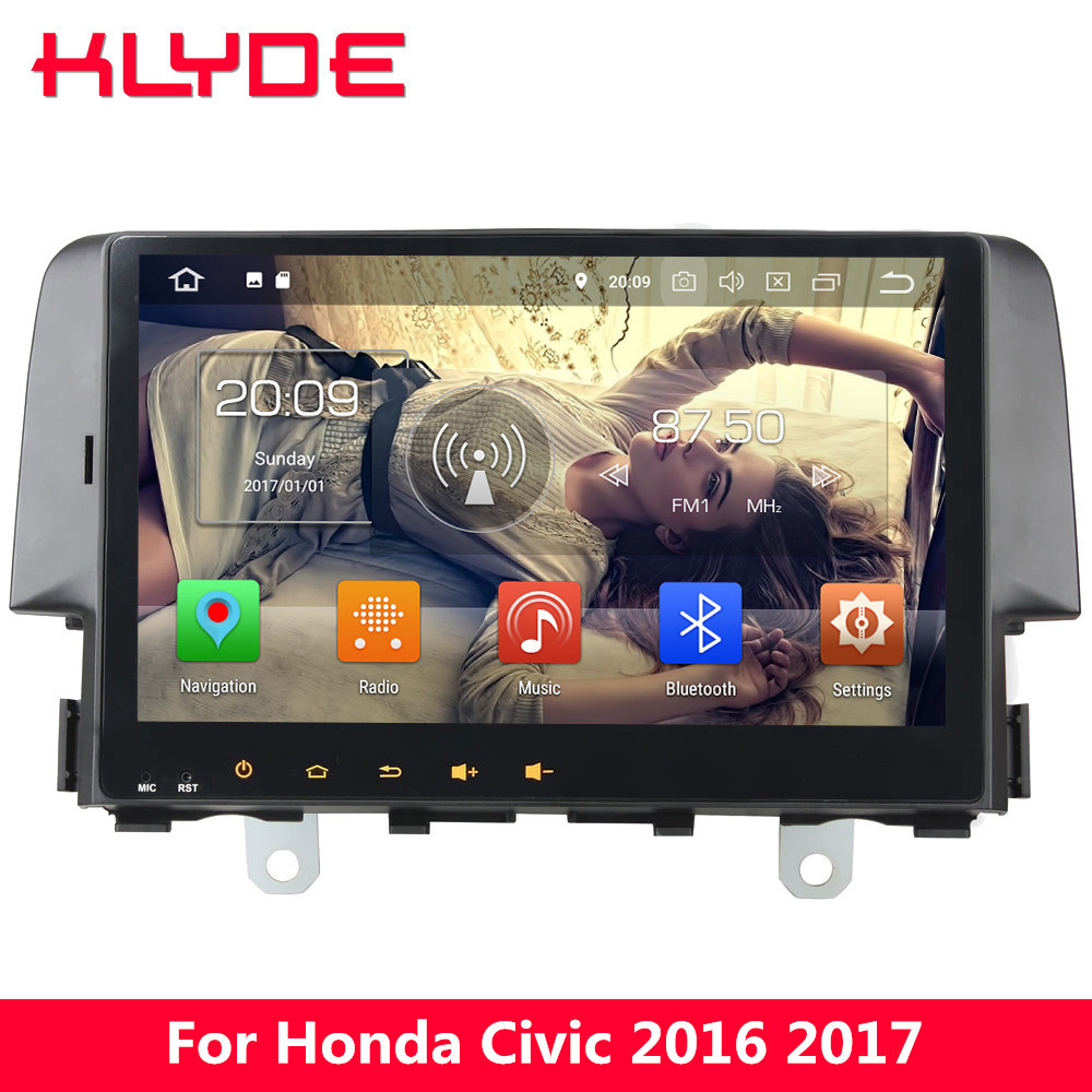 KLYDE 10.1 4G WIFI Android 8.0 7.1 Octa Core PX5 4GB RAM 32GB ROM RDS FM Car DVD Player Radio Stereo For Honda Civic 2016 2017
