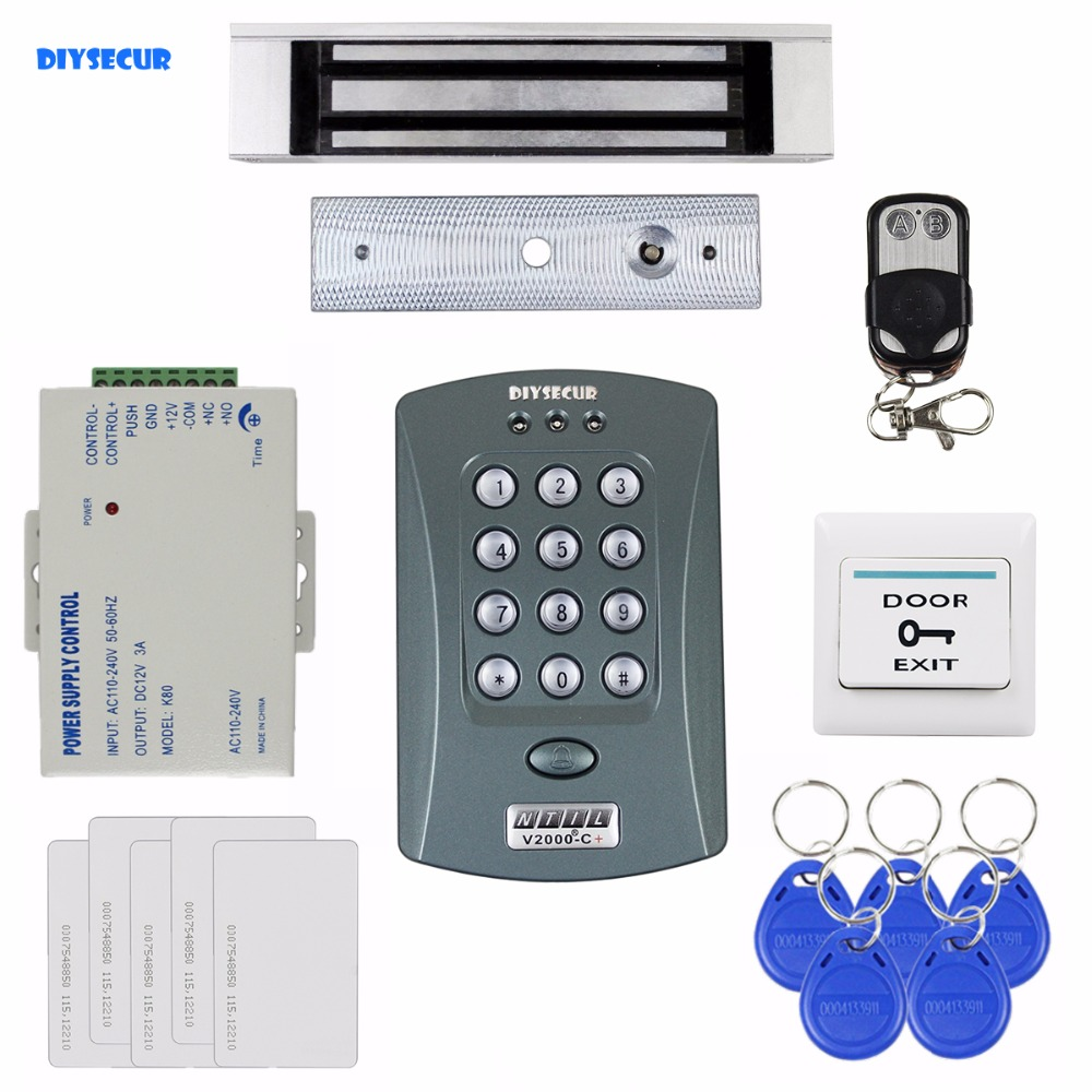 DIYSECUR 180kg Magnetic Lock 125KHz RFID Password Keypad Access Control System Security Kit + Remote Control V2000-C diysecur 280kg magnetic lock 125khz rfid password keypad access control system security kit exit button k2