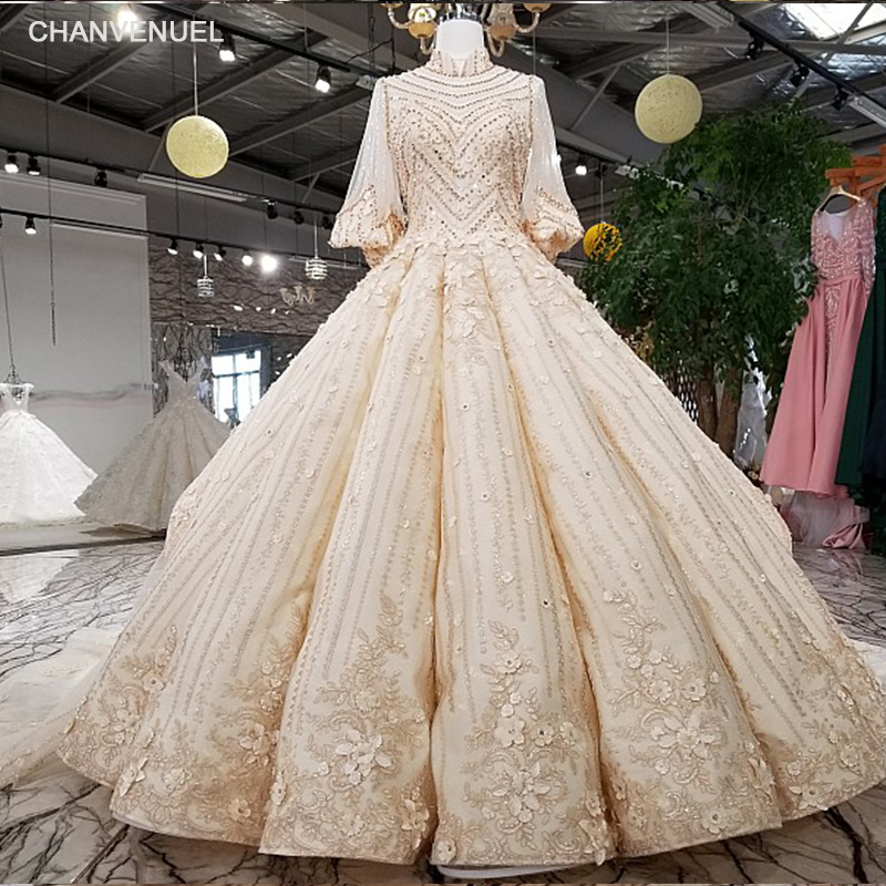LS92241 2018 Luxury Rhinestone Wedding Dress High Neck