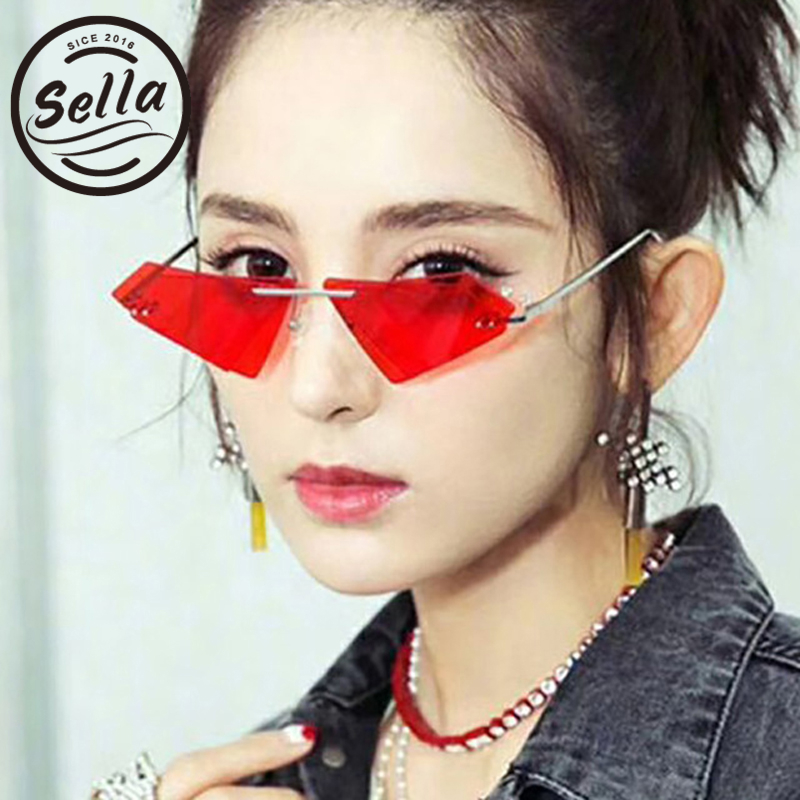 a6b7788711f Sella New Arrival Unique Rimless Bats Shape Irregular Sunglasses Men Women  Unisexule Glasses Frame Fashion Tint Lens Eyewear