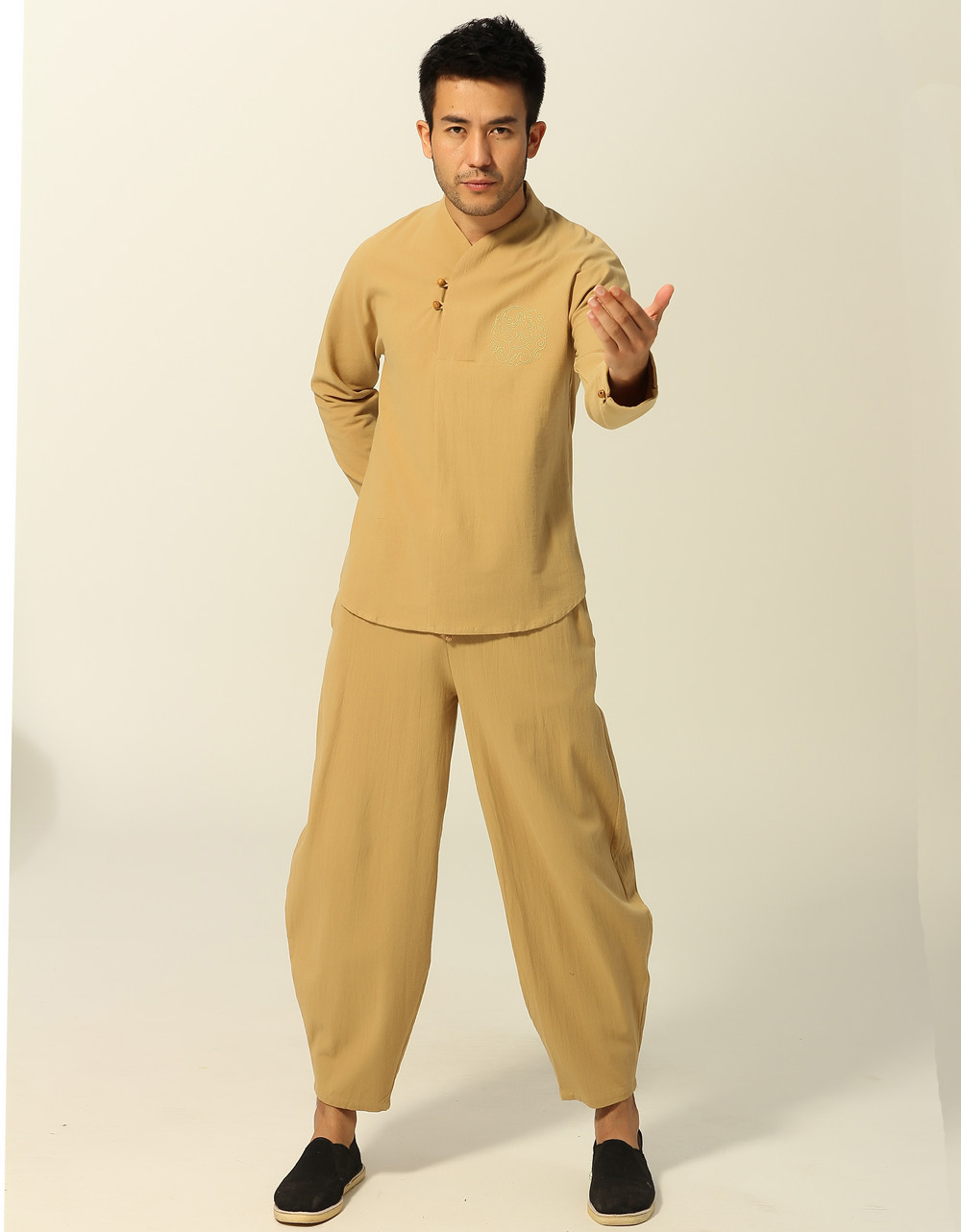 New Arrival Chinese Men's Cotton Kung Fu Suit Tai Chi Wushu Sets Long Sleeve Shirt&Loose Full Length Pants Trousers Size M-XXXL