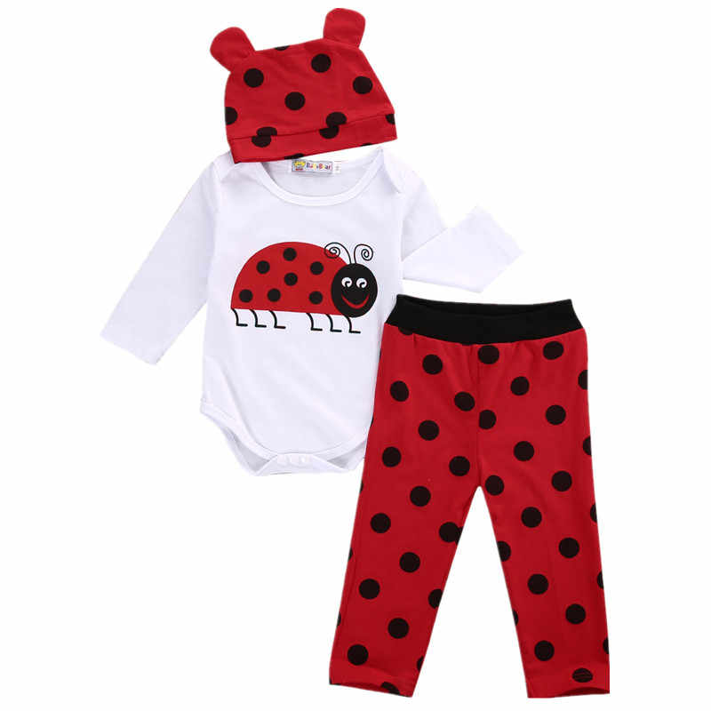 Newborn Toddler Infant Baby Boys Girls Romper Long Sleeve Tops Shirt Long Pants Hat 3PCS Outfits Set Casual Clothes