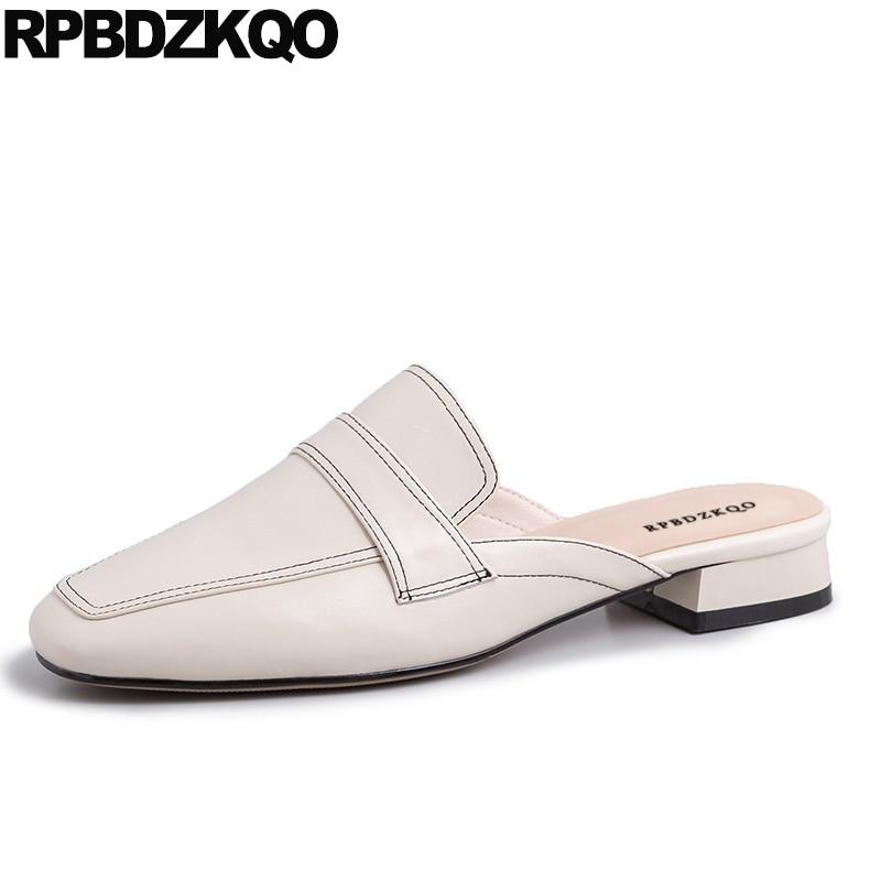 genuine leather real slip on sandals
