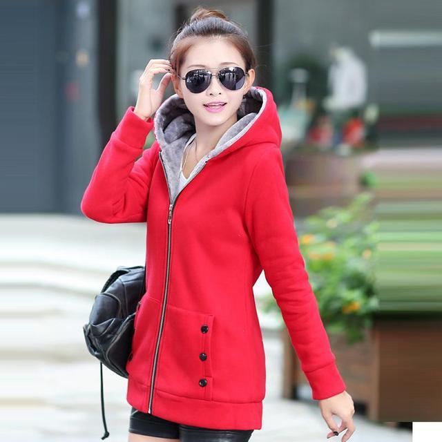 2016 Women Casual Hoodies Coat Autumn Winter Jackets Cotton Sportswear Coat Hooded Warm  Jackets Plus Size M-3XL