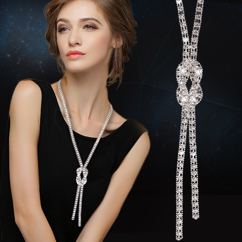 Simple All-Match Long Necklace Fashion Zircon CZ Rhinestone Acacia Knot Pendant Necklace Tassel Sweater Chain Jewelry Gifts rhinestone eye pendant chain necklace