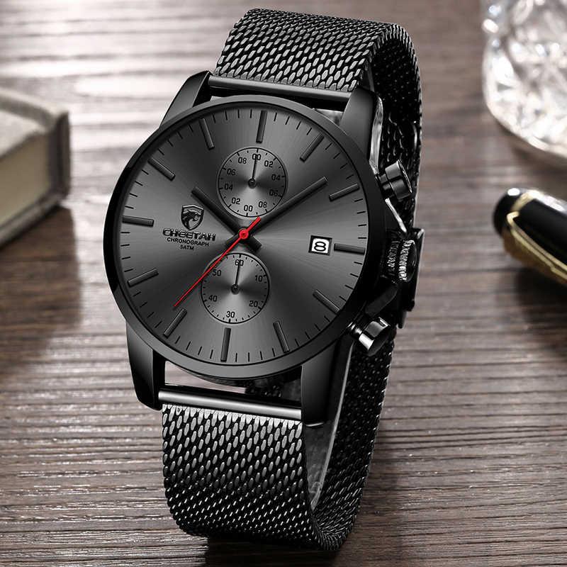 יוקרה למעלה מותג גברים עסקים שעונים הכרונוגרף עמיד למים קוורץ אנלוגי שעוני יד מלא פלדת זכר שעון Relogio Masculino