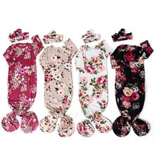Спальный мешок с цветочным рисунком для новорожденных девочек, спальный мешок, пеленка+ повязка на голову, 0-6 месяцев, теплый спальный мешок с цветочным рисунком для маленьких мальчиков и девочек