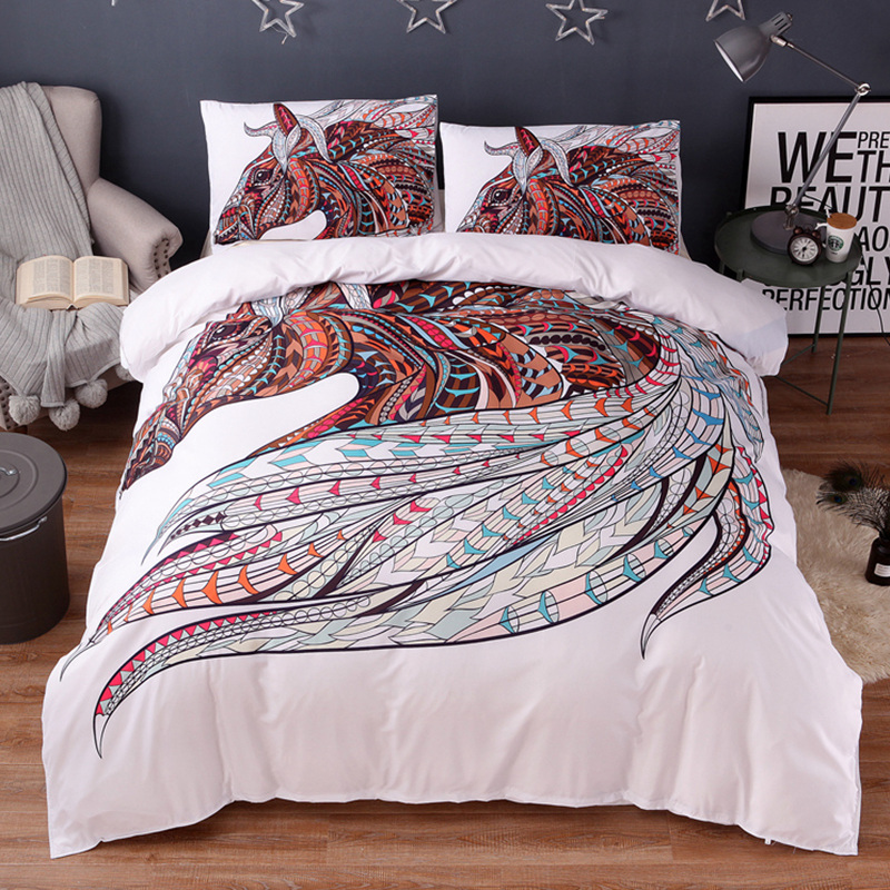 Wongs bedding Horse Bedding Set HD Print Tribal Horses Duvet Cover Set Twin Full Queen King Size 3PCS Bedding-in Bedding Sets from Home & Garden