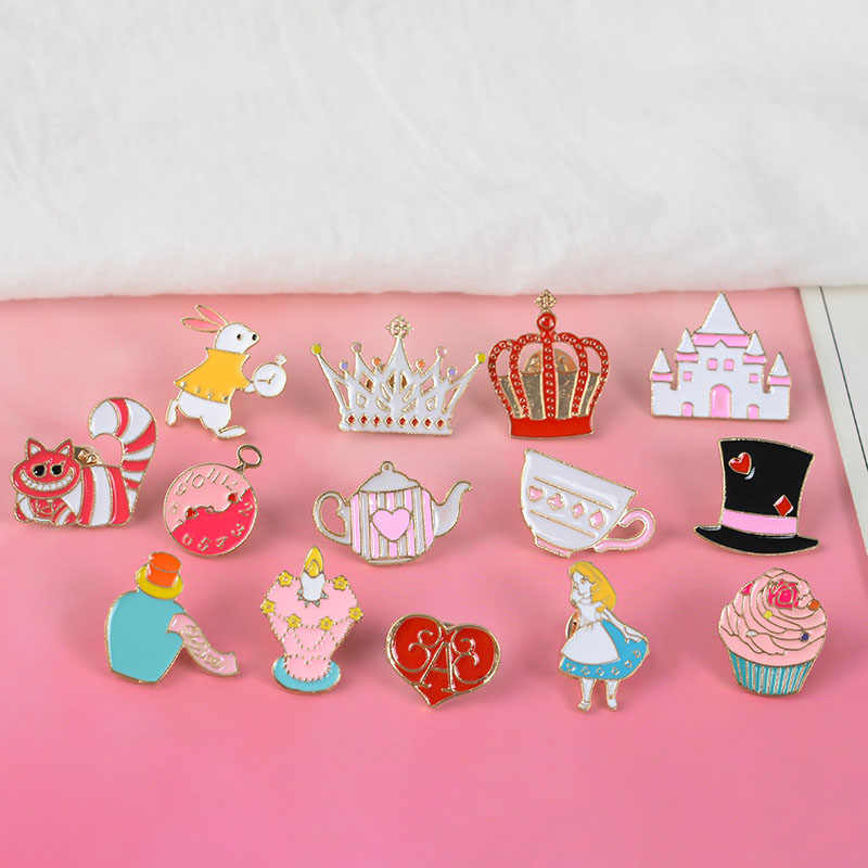 Queen Alice Wonderland Lapel Pins Brooch for women Cute Magic Hat Cupcake enamel pin Badges Color Fairy tale Jewelry Accessories