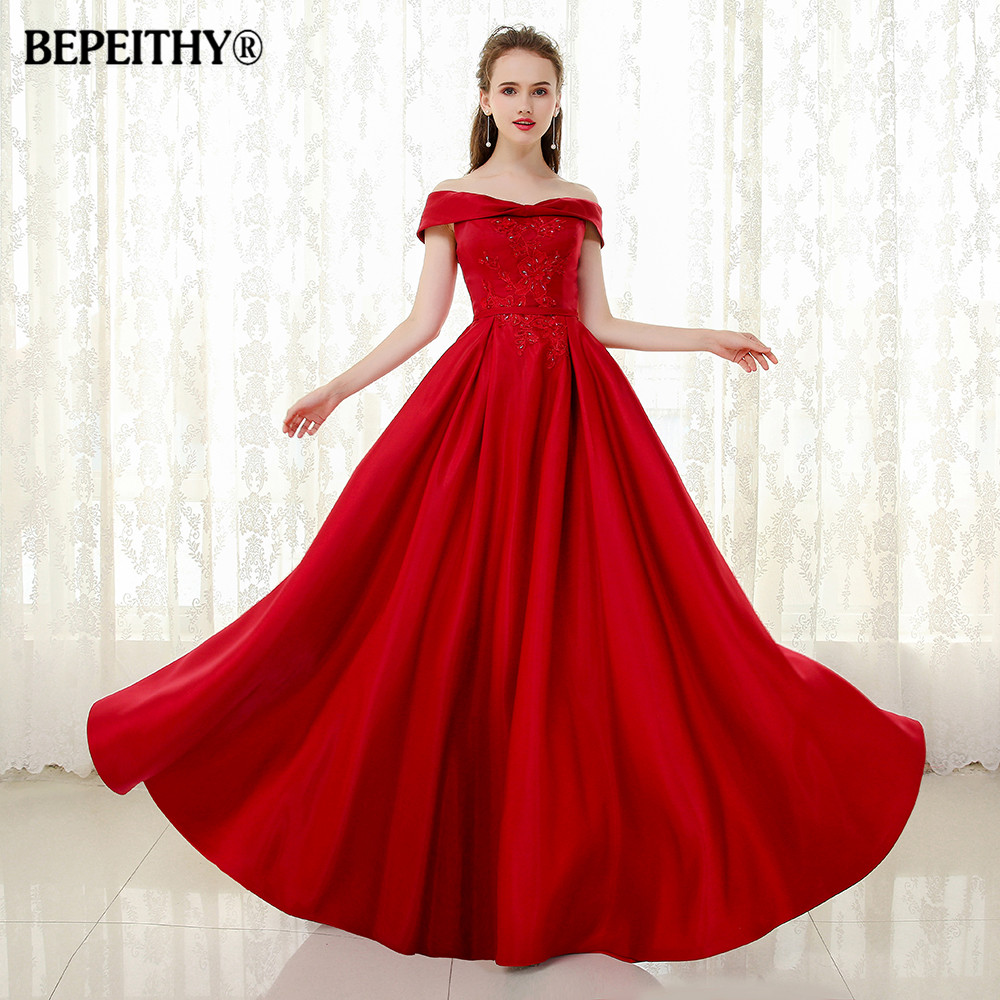 BEPEITHY Off The Shoulder Bow Neckline Long Evening Dress Party Elegant Vintage 2019 Lace Beaded Prom Gowns Vestido Longo