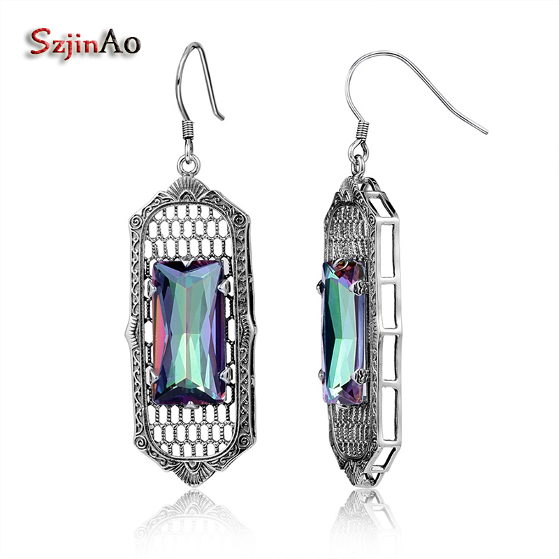 Szjinao From India Boho Rainbow Mystic Topaz Colorful Stone Solid 925 Sterling Silver Earrings for Women Valentine Day Gifts colorful boho earrings