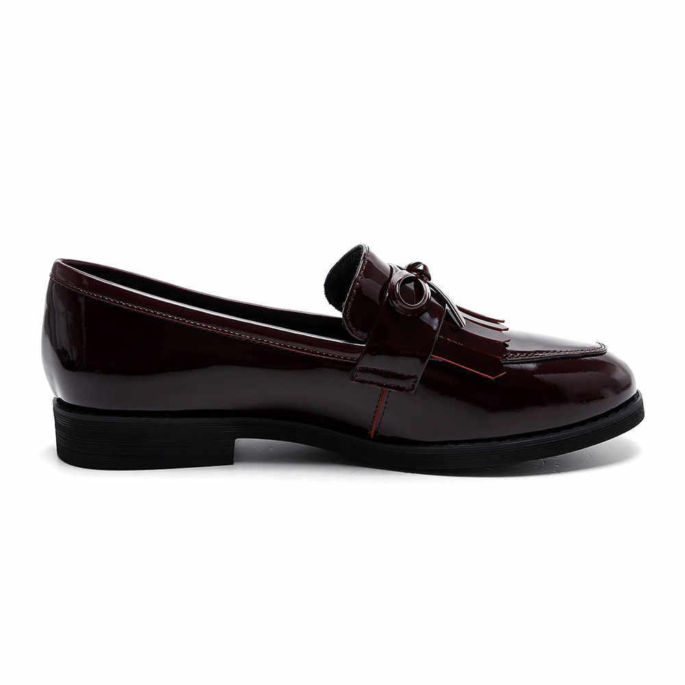 Volledige Echt Leer Vrouwen Loafers met Boog Fringe Soft Leisure Flats Casual Schoenen Zwart Wijn Rode AM04 MUYISEXI