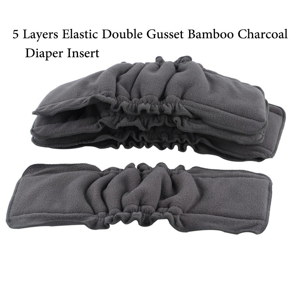 Ohbabyka Wholesale Cloth Diapers Insert Washable Bamboo Charcoal Inserts For Baby Diaper Cover Reusable Elastic Nappy Insert