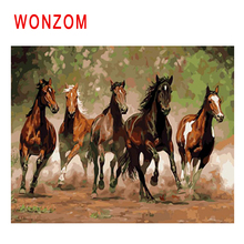 WONZOM Horse Group Run Painting By Numbers Abstract Animal Oil Cuadros Decoracion Acrylic Paint On Canvas Modern Art