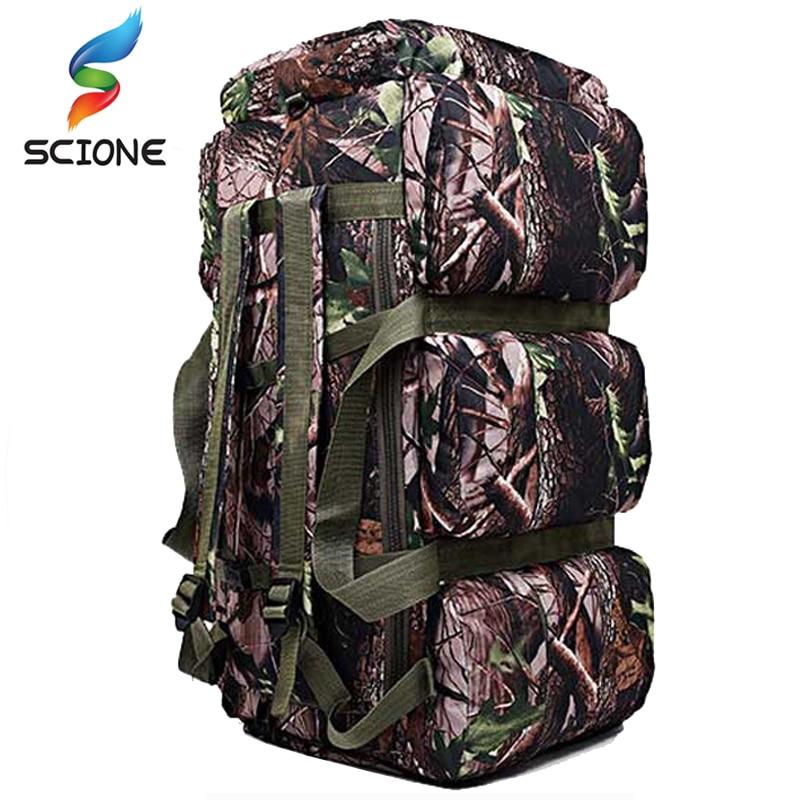 Varm toppkvalitet 90L Storkapacitet utomhus Militär reseväskor oxford / kanfas ryggsäck kamouflage duffel väska vattentät ryggsäck