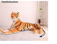 large 130cm lovely yellow tiger plush toy simulation prone tiger hugging pillow birthday gift s0036