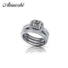 AINUOSHI Роскошные стерлингового серебра 925 Свадебные 3 шт. наборы колец 1 карат принцесса вырезать NSCD ювелирные изделия для женщин обручальное кольцо набор