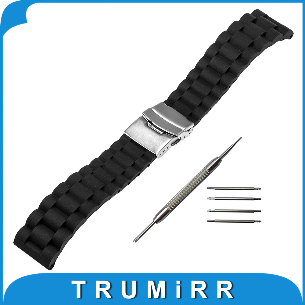 22mm Silicone Rubber Watch Strap for Pebble Time / Steel Samsung Gear 2 R380 R381 R382 Stainless Steel Buckle Band Bracelet смарт часы samsung gear s2 black