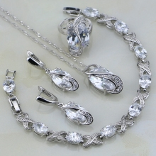 Classic White Mystic Rhinestone Sterling Silver Jewelry Sets For Women Wedding Bracelets/Necklace/Pendant/Earrings/Ring