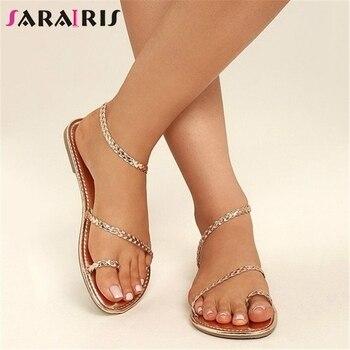 8ba8ed60 SARAIRIS diseño de marca Plus tamaño 34-48 de lujo sandalias de verano  plana con Roma zapatos de mujer zapatos de fiesta Casual de oficina hembra  feetwear