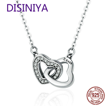 925 Sterling Silver Connected Heart Couple Heart Pendant Necklace for Girlfriend Jewelry Valentine Day Gift CQN181 цена в Москве и Питере