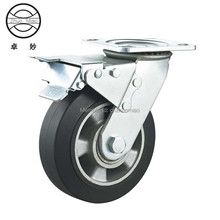 New style 5 inch Top Plate Swivel Aluminum Core Rubber Heavy Duty Caster With Double Brake Double Ball Bearing. цены