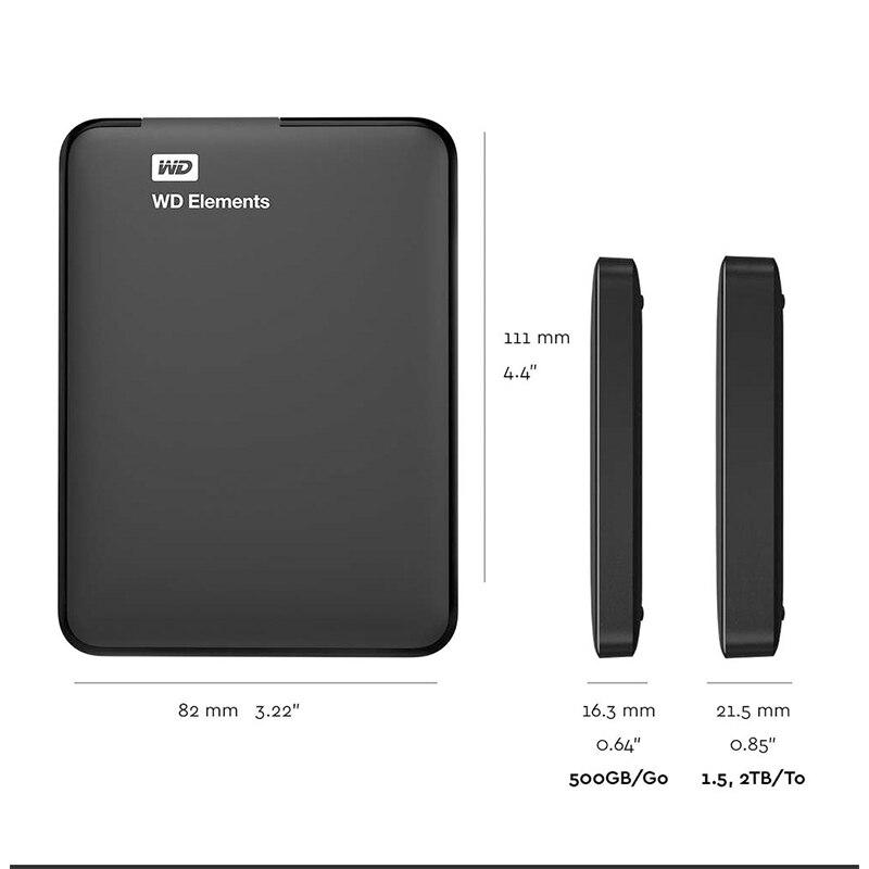 Western Digital WD elementos portátil externo hdd 2,5 USB 3,0 Disco Duro 500GB 1TB 2TB 3TB 4TB Original para ordenador portátil - 3