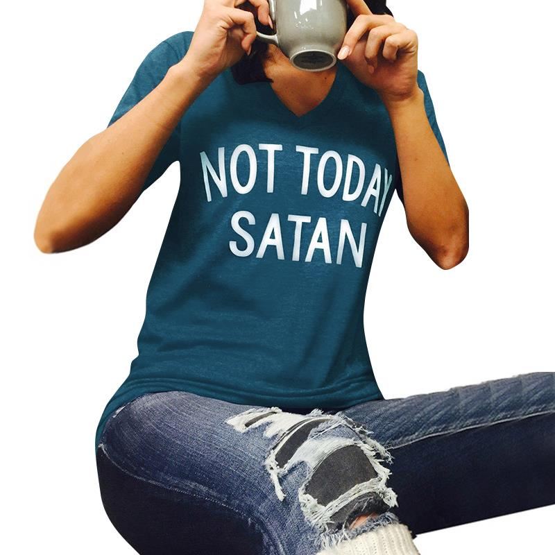 NEW Summer Women Not Today Satan Letters Printing Short Sleeve Slim V Neck Casual Loose T-Shirt Top LJ8931E