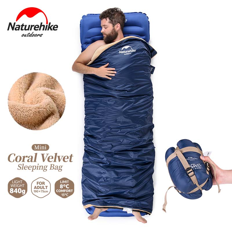 NatureHike 190x75cm Ultralight Coral Velvet Mini Envelope Outdoor Camping Sleeping Bag for Camping Hiking Traveling outdoor naturehike ultralight sleeping bag for adult tents cotton filler envelope hiking traveling tent quilt length 1 9m