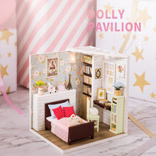 Simple Doll Houses Furniture Diy Miniature 3D Wooden Miniaturas Dollhouse Toys for Children Birthday Gifts Casa Kawaii Bedroom(China)
