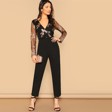 Women's Mesh Sleeves Party Jumpsuit