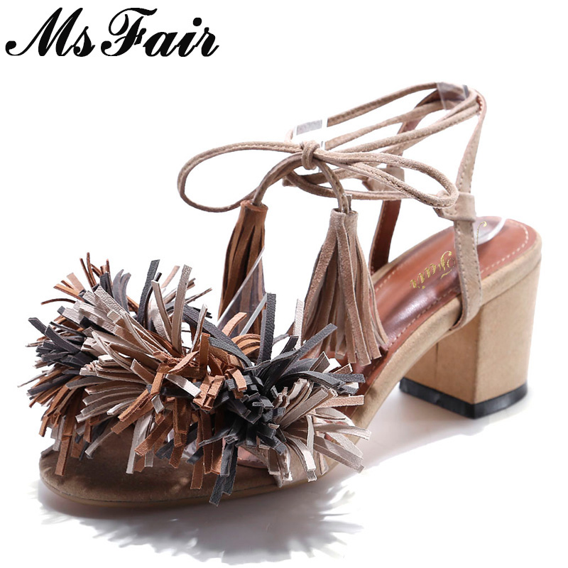 MsFair Round Toe Square heel Women Sandals Open Toed Cross tied Ladies High Heels Sandals 2018 Fringe Flower Women Sandal Shoes msfair women square toe wedges sandals fashion butterfly crystal high heels woman sandals 2018 new summer women high heel shoes