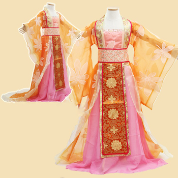 Orange Little Girl Tang Dynasty  Empress Dance Costume Princess Hanfu Children's Day Stage Performance Cosplay you zi yin tang dynasty prince and empress costume parent child costume sets mother son stage clothing