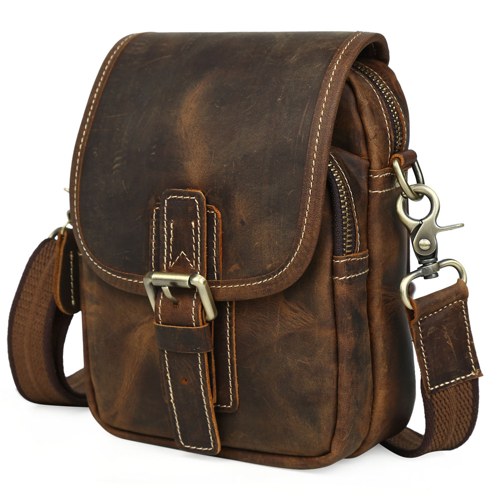 ФОТО TIDING Leather Small Satchel for Cell Phone Mini Shoulder Bag Purse Crazy Horse Leather Cool Wild Style 3006CN