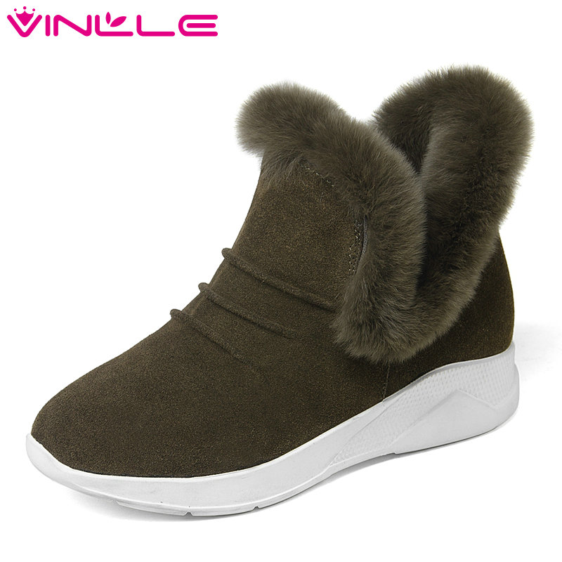VINLLE 2018 Women Snow Boots Black Ankle Boots Round Toe Genuine Leather Wedge Med Heel Slip On Black Ladies Shoes Size 34-39 enmayla new women slip on chelsea boots suede black crystal ladies ankle boots for women round toe med heels shoes woman
