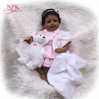 NPK 55cm Bebes Reborn muñeca de silicona suave juguete de niña Reborn muñeco para regalar para el Día de los niños negro sonrisa linda chica