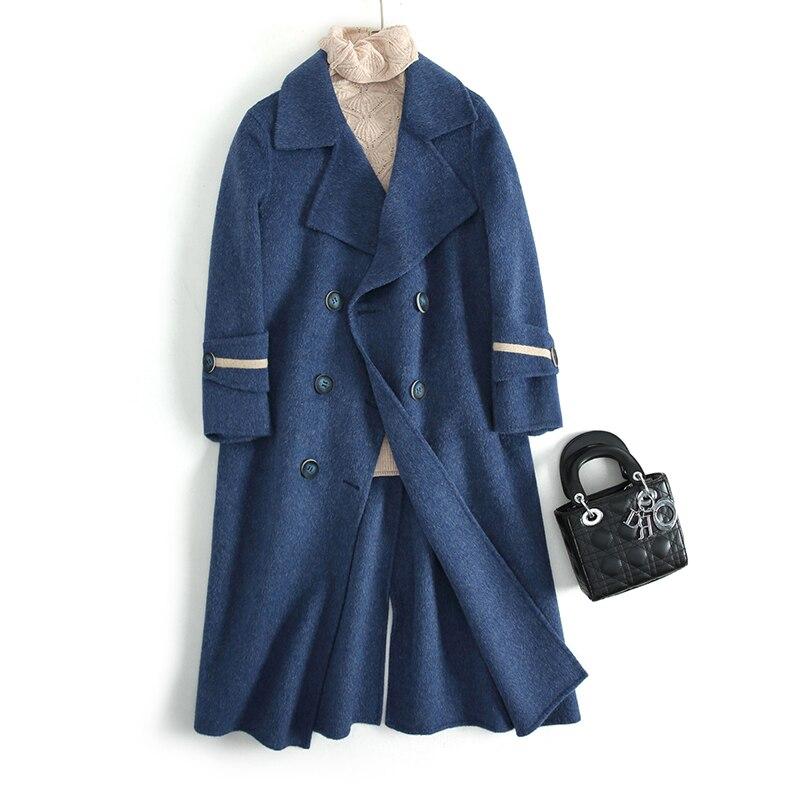 Manteau Xlgd1855 Longues Yasuguoji Donna Beige Laine Boutonnage Des Femmes Fit blue 2018 De Nouveau Élégant Double Sobretudo Cappotto Ndy13 Xlgd1855 D'hiver Slim xq1OIq